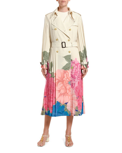 Floral-Print Pleated Silk Trench Coat