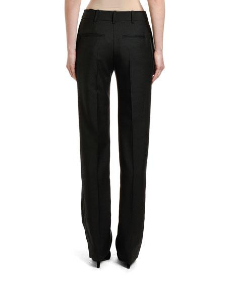 Straight-Leg Wool Mohair Pants