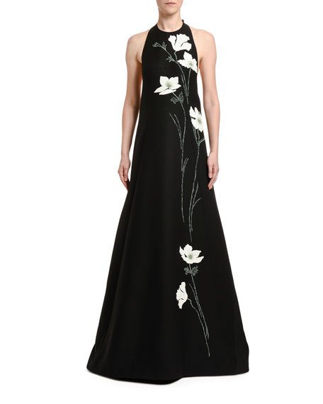 Embroidered Wool-Silk Flower Gown