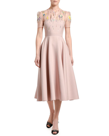 Embroidered Wool-Silk Dress