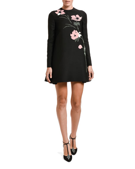 Floral-Embroidered Long-Sleeve shift Dress