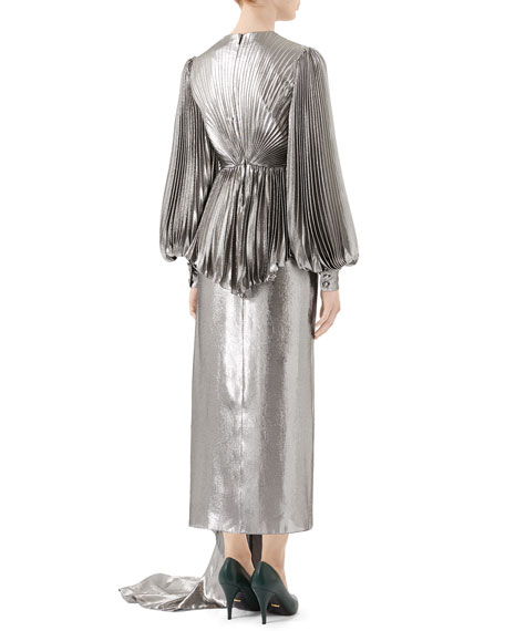 Metallic Silk Gown with Pleated Bodice & Asymmetric Train
