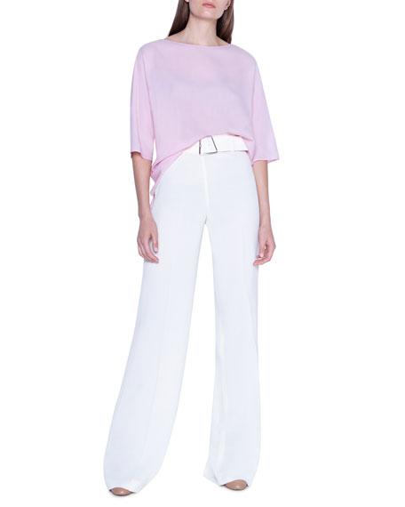 3/4-Sleeve Wool-Silk Crewneck Top