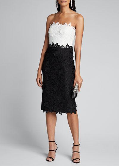Colorblocked Chantilly Lace Sheath Dress