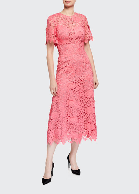 Image 1 of 1: Lace Flutter-Sleeve Midi Dress