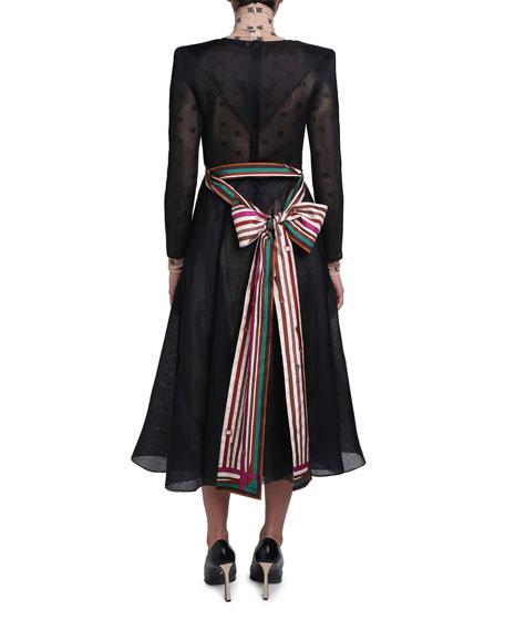 Chiffon Long-Sleeve Dress with Logo-Print Turtleneck Lining