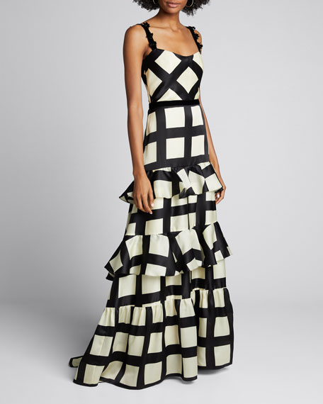 Image 1 of 1: Silk Route Check Organza Dress