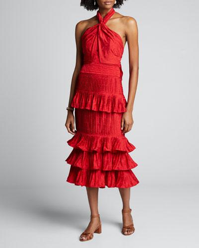 Eccentric Vibes Tiered Ruffled Halter Dress