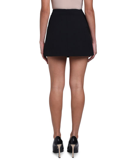 Gabardine Patent Leather-Trim Mini Skirt