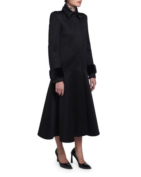 Mink-Cuff Compact Jersey Coat