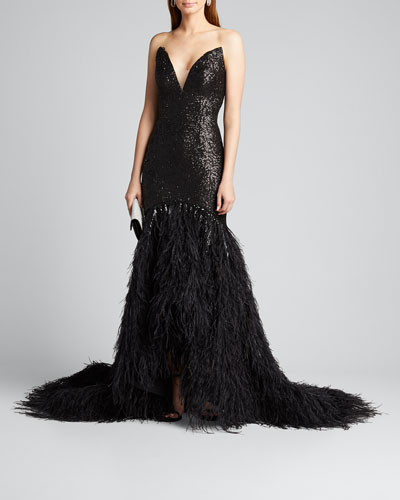 Metallic Sequined Feather-Train Gown
