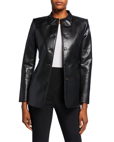 Trompe l'Oeil-Collar Tailored Faux-Leather Jacket