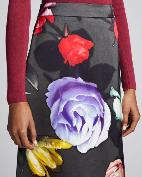 Floral Duchess Satin A-Line Skirt