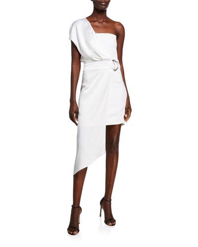 Charmeuse & Cady One-Shoulder Asymmetric Dress