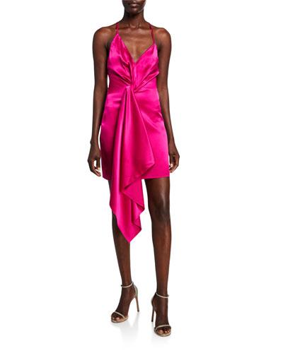 Wrapped Charmeuse Deep-V Dress