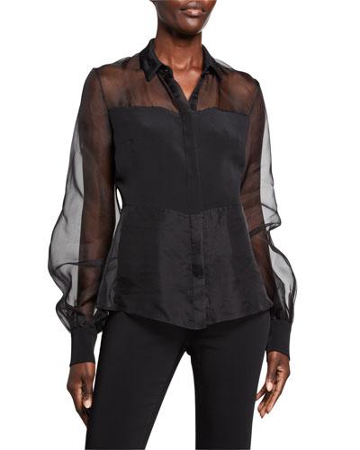 Sheer Silk Button-Front Blouse