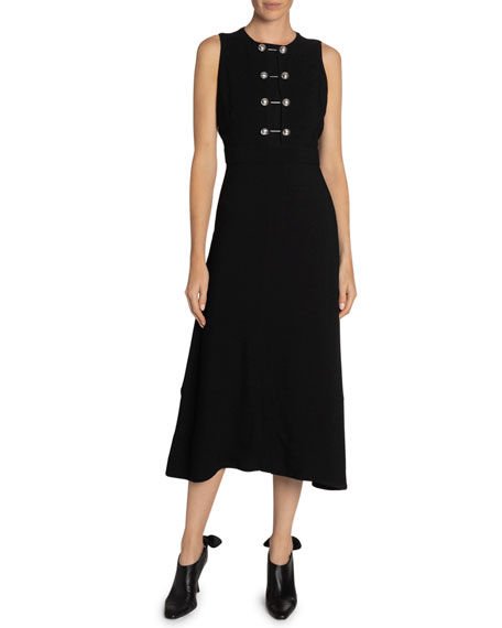Sleeveless Barbell-Front Midi Dress