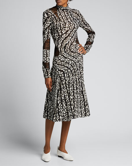 Abstract Print Lace-Inset Dress