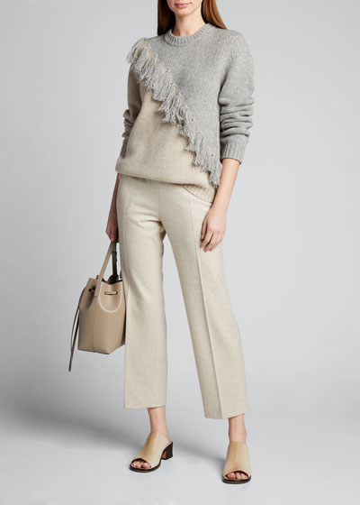 Wool-Cashmere Diagonal-Fringed Two-Tone Sweater