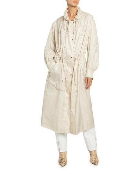Image 1 of 1: Taffeta Drawstring Zip-Front Coat