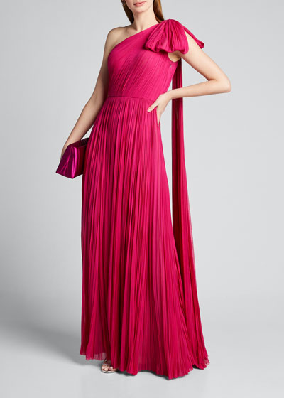 Hand-Pleated Silk Bowed-Shoulder Gown