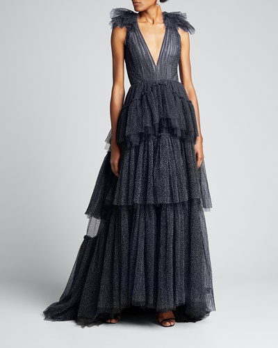 Dotted Tulle V-Neck Gown