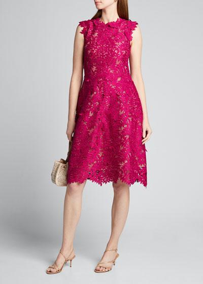 Guipure Lace Knee-Length Dress