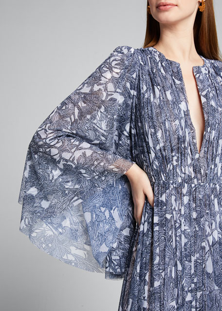 V-Neck Floral-Print Pleated Gown