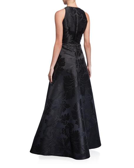 Silk Jacquard A-Line Gown