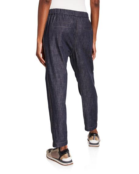 Monili Tuxedo-Striped Chambray Pants