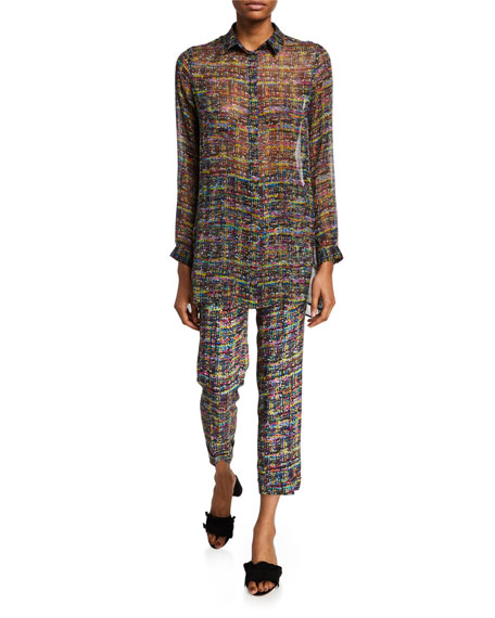 Tweed Print Cuffed Pants