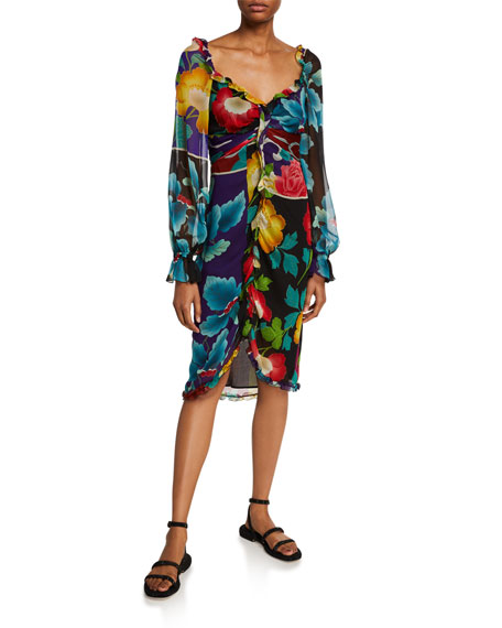 Image 1 of 1: Draped Georgette Japanese Floral-Print Dress