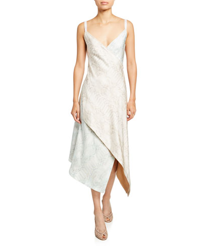 Multi-Print Silk Turtleneck Dress