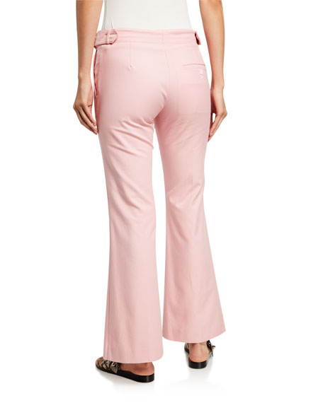 Canvas Cropped Flare Pants