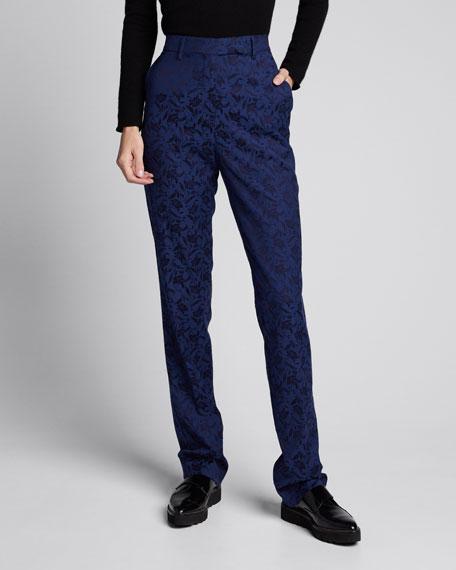 Brocade Straight-Leg Trousers