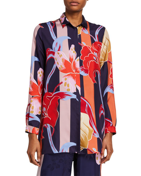 Image 1 of 1: Lily-Print Silk Tunic