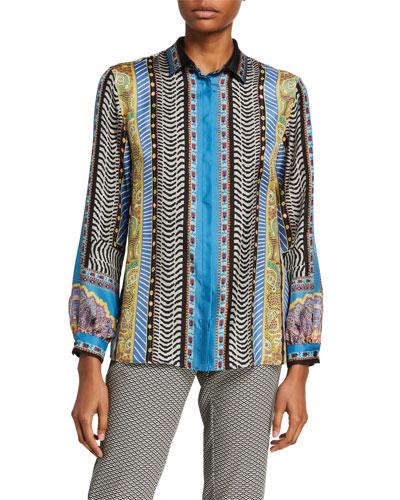 Geometric Paisley-Print Silk Shirt