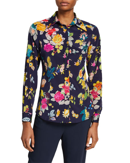 Image 1 of 1: Floral-Print Stretch Silk Shirt