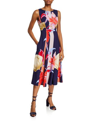 Large Lily-Print Sleeveless Dress