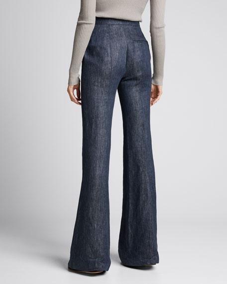 Leda Linen-Denim Wide-Leg Pants