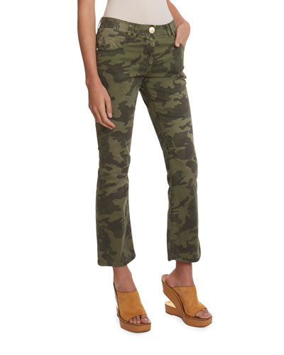 Camo Cropped Flare Jeans