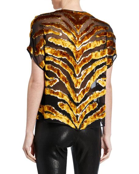Tiger-Striped Burnout Velvet Dolman-Sleeve Top