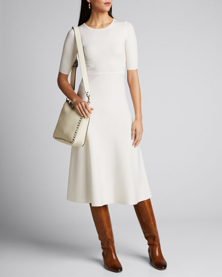 Image 1 of 1: Seymore Wool-Cashmere 1/2-Sleeve Dress
