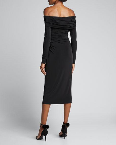 Fluid-Jersey One-Shoulder Cocktail Dress