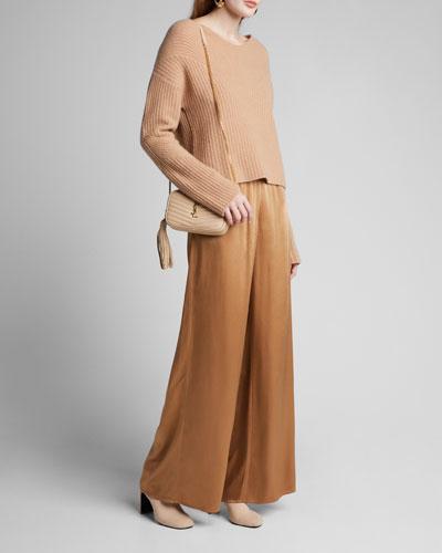 Satin Wide-Leg Track Pants  Camel