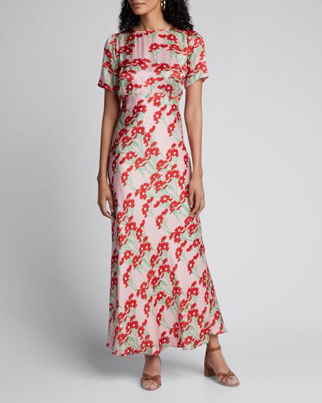 Jane Daisy-Print Short-Sleeve Satin Maxi Dress