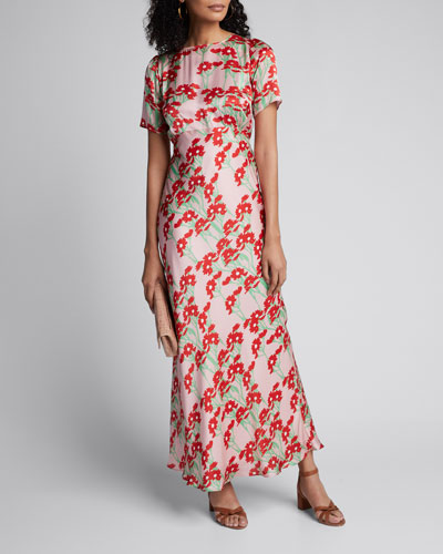 Jane Daisy-Print Short-Sleeve Satin Maxi Dress