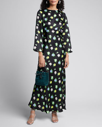 Rose-Print Long-Sleeve Satin Maxi Dress