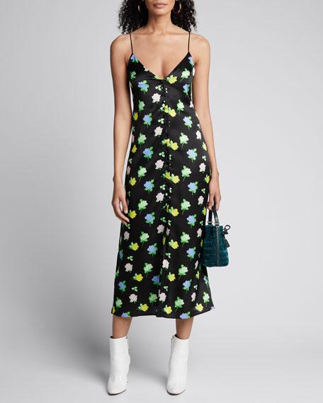 Hailey Mini Rose-Print Satin Button-Front Slip Dress