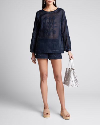 Nepal Embroidered Pajama Shorts